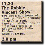 Radio Times listing for Robbie's Saturday lunchtime show on Radio London